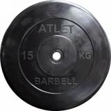 Диск обрезиненный MB Barbell d 31 мм черный, 15 кг Atlet