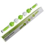 Массажер роликовый Torres в форме скалки, 5 массажных элементов, пластиковый. Зелено-белый