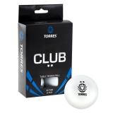 Мяч для настольного тенниса TORRES Club 2* TT0014, 6 шт, белый